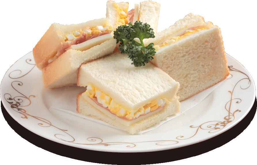 イタリア産パルマ無添加生ハムと朝採り玉子・無添加ナチュラルスライスチーズのサンドウィッチ